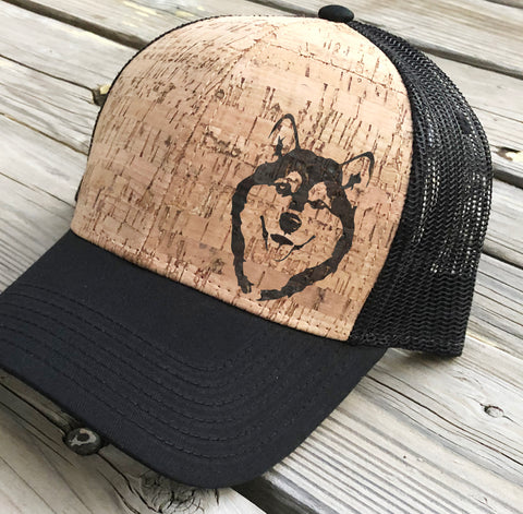 Custom Simplified Illustration of Your Dog - Wood-Burned on Cork Hat - Alaskan Malamute and Siberian Husky