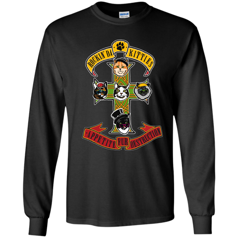 Kitties Rock Guns N Roses - Cats, Kitty Longsleeve Tshirt