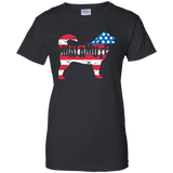 Alaskan Malamute American Flag Ladies T-Shirt
