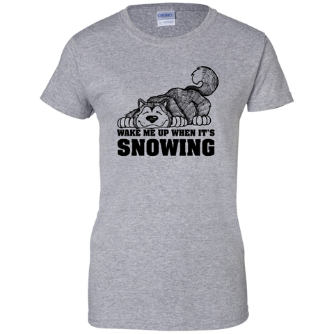 Wake Me When Snowing - Alaskan Malamute - Ladies Cotton T-Shirt