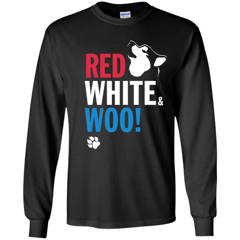RED, WHITE & WOO - Malamute, Husky, Dog LongsleeveT-Shirt