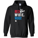 RED, WHITE & WOO - Malamute, Husky, Dog  Pullover Hoodie