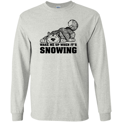 Wake Me When Snowing - Alaskan Malamute - Longsleeve Cotton Tshirt
