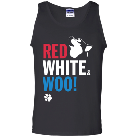 RED, WHITE & WOO - Malamute, Husky, Dog Mens Tank Top