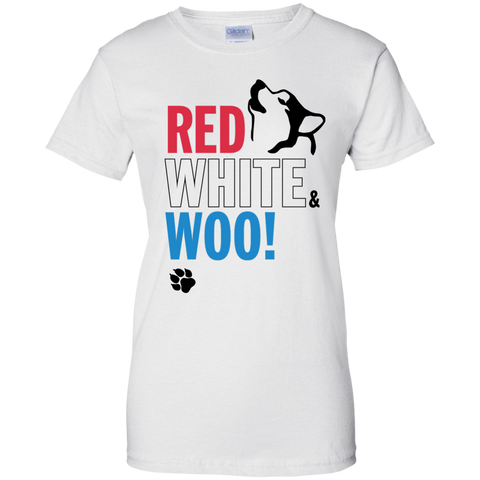 Red, White and Woo! Ladies T-Shirt