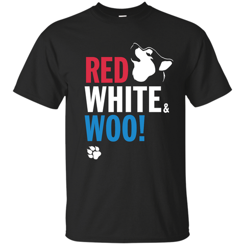 RED, WHITE & WOO - Malamute, Husky, Dog T-Shirt