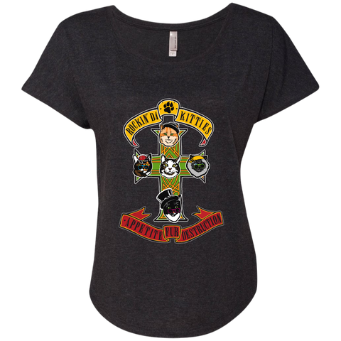 Kitties Rock Guns N Roses - Cats, Kitty Ladies Triblend Dolman