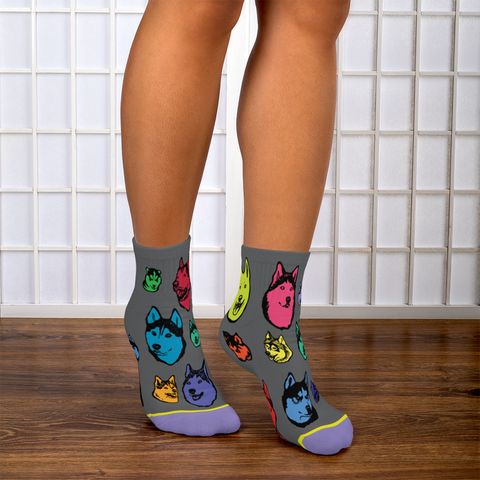 Siberian Husky, Huskies Socks - Super Cute Fun Footie Socks for Dog Lovers!