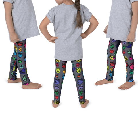 Kids Leggings! Siberian Husky Colorful Face Art - Huskies - Made in America