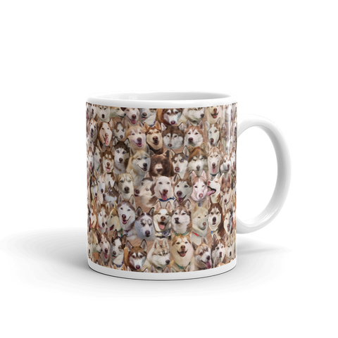 Red Husky Photo Pattern - Siberian Huskies Mug - Coffee Mug