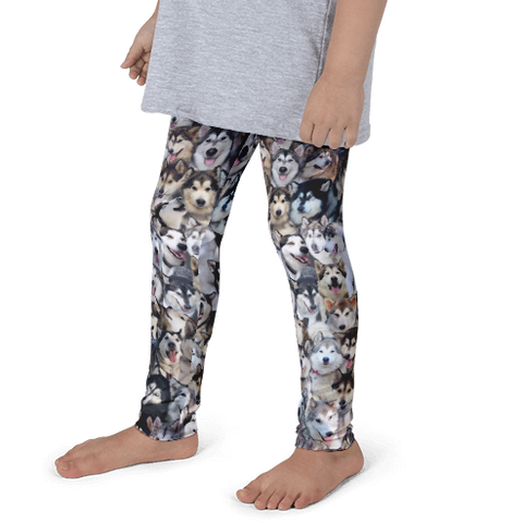 Kids Leggings! Alaskan Malamute Dog Photo Pattern - Made in America