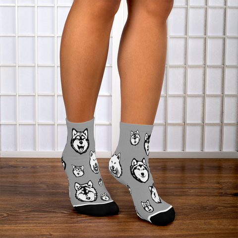 Alaskan Malamute Socks - Super Cute Fun Footie Socks for Dog Lovers!