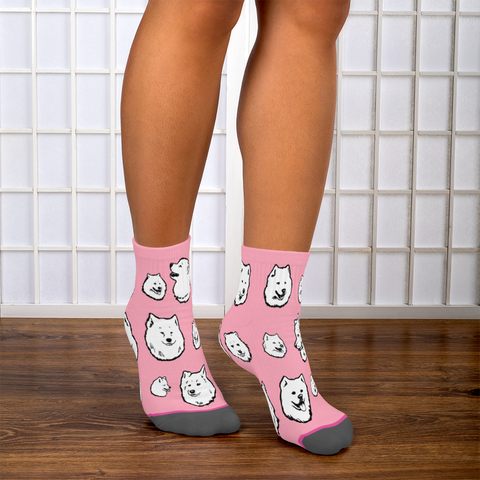 Samoyed Socks - Super Cute Fun Footie Socks for Dog Lovers!