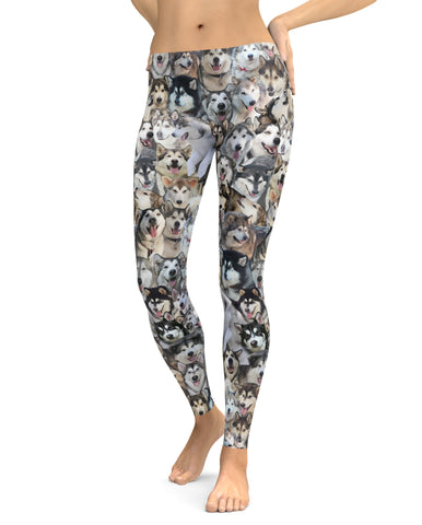Alaskan Malamute Dog Photo Pattern on Leggings - Malamutes – Made in America
