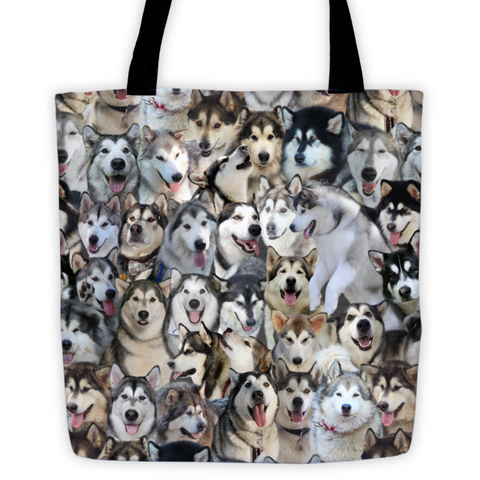 Alaskan Malamute Photo Pattern on Double-Sided Tote Bag