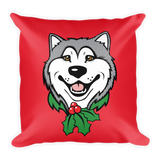 Alaskan Malamute Christmas, Holiday Large Square Throw Pillow