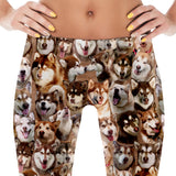 Red Alaskan Malamute Dog Photo Pattern on Leggings - Malamutes – Made in America