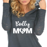 Bully Mom Sheer Jersey Contrast Burnout Long Sleeve Hoodie - Heart - Pitbull - Dogs - Women, Ladies