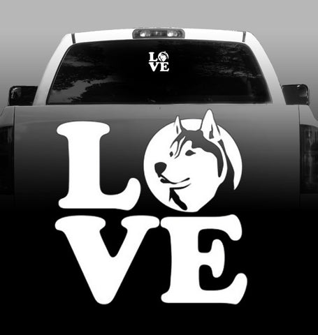 LOVE - Vinyl Decal - Siberian Husky - Car, Vehicle, Sticker