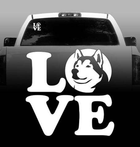 LOVE - Vinyl Decal - Alaskan Malamute - Car, Vehicle, Sticker