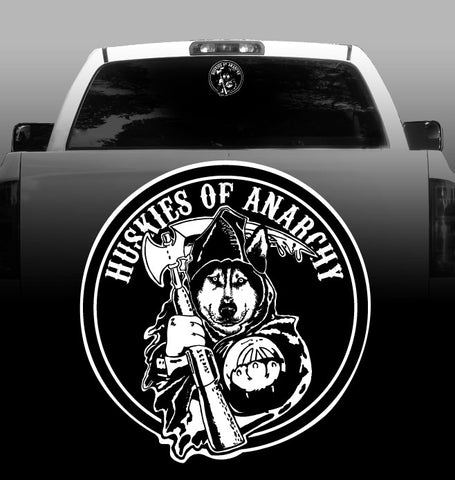Huskies of Anarchy Vinyl Decal - Siberian Husky - Car, Vehicle, Sticker