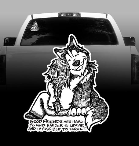 Good Friends - Vinyl Decal Car Sticker - Siberian Husky