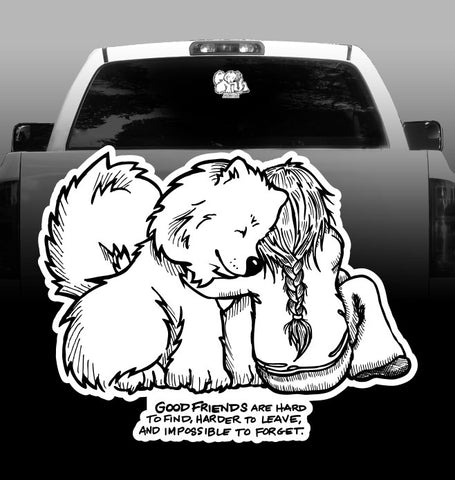 Good Friends Samoyed Mom - Vinyl Decal - Car, Vehicle, Sticker