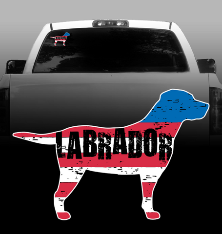 Labrador American Flag Vinyl Decal - Labrador Retriever - Car, Vehicle, Sticker