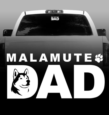 Malamute Dad Vinyl Decal - Alaskan Malamute - Car, Vehicle, Sticker