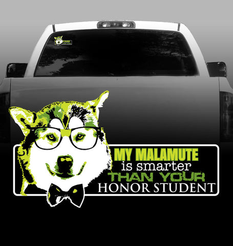 Malamute Honor Student Vinyl Decal - Alaskan Malamute- Car, Vehicle, Sticker