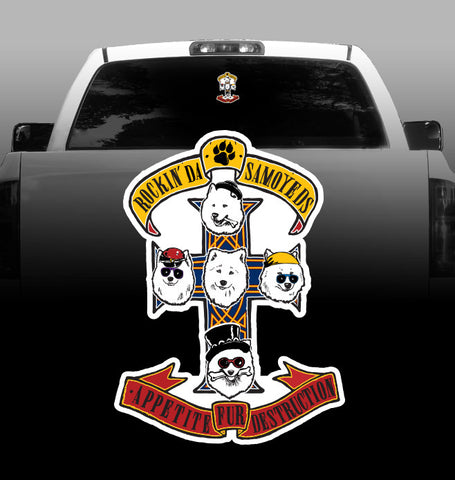 Samoyeds Rock Guns N' Roses - Vinyl Decal - Car, Vehicle, Sticker