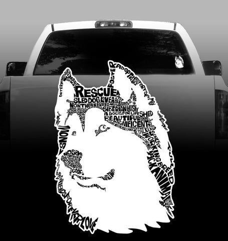 Husky Words -Vinyl Decal - Siberian Husky-sticker-outdoor vinyl