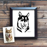 Custom Simplified Illustration of Your Dog - Poster Print - Alaskan Malamute and Siberian Husky