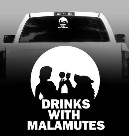 Drinks With Malamutes - Alaskan Malamute - Outdoor - High Quality - Car Decals - Sticker