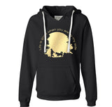 Life is Good When You Are By My Side - Metallic Print on Black Ladies VNeck Hoodie - Siberian Husky - Alaskan Malamute