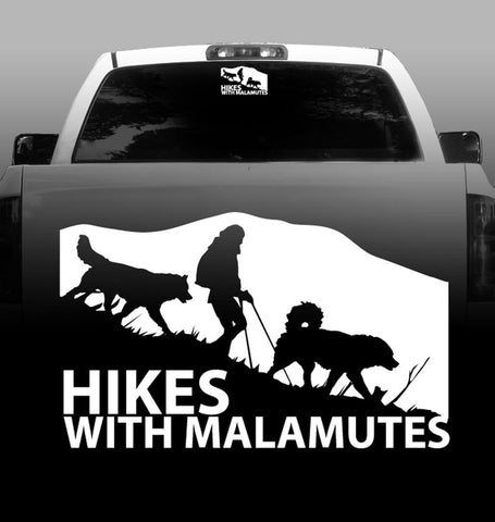 Hikes With Malamute - Alaskan Malamute - Outdoor - High Quality - Car Decals - Sticker