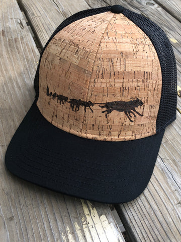 Sled Dog Team Hat - Wood-Burned on Cork - Alaskan Malamute and Siberian Husky