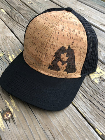 Girl and Her Dog Hat - Wood-Burned on Cork - Alaskan Malamute and Siberian Husky