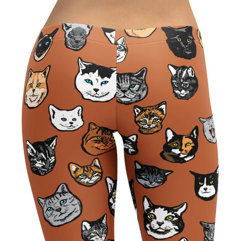 Cat & Kitty Leggings - Art illustration Pattern on Leggings – Made in America