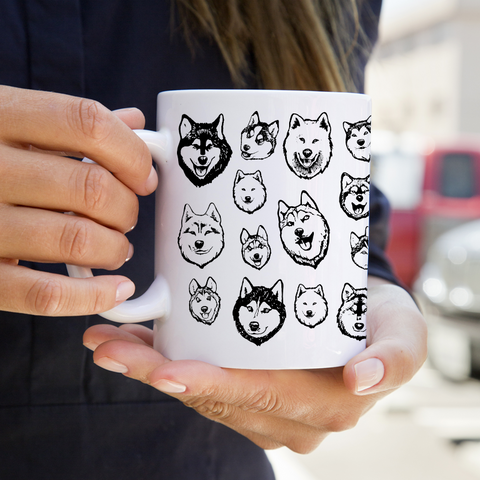 Malamute and Husky Illustrated Art - Alaskan Malamute, Siberian Husky Mug - Coffee Mug