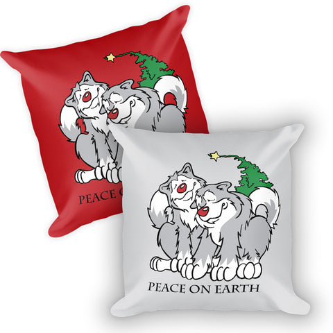Peace on Earth - Alaskan Malamute Christmas, Holiday Large Square Throw Pillow