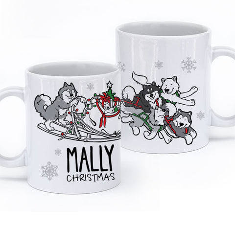 Mally Christmas - Alaskan Malamute Mug - Coffee Mug