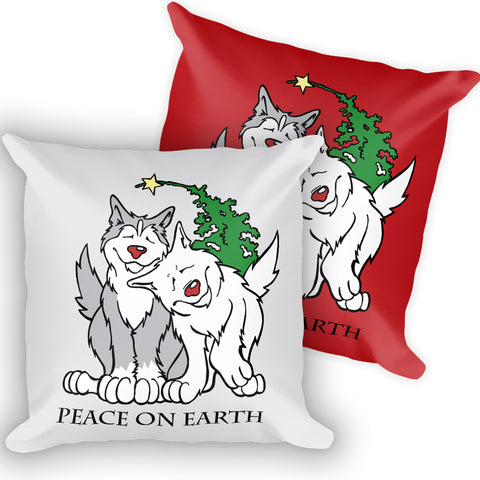 Peace on Earth - Siberian Husky Christmas, Holiday Large Square Throw Pillow
