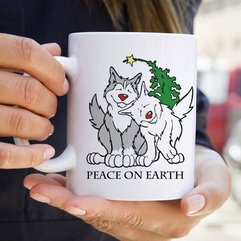 Peace on Earth - Siberian Husky Mug - Coffee Mug