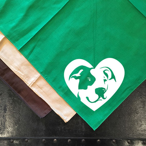 Pitbull Terrier Heart Bandana - Dog Art - No-Crop Ears