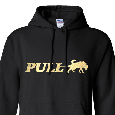 PULL w/ Paw on Hood - Siberian Husky - Alaskan Malamute - Sled Dog Pull Over Hoodie - Men, Ladies, Unisex