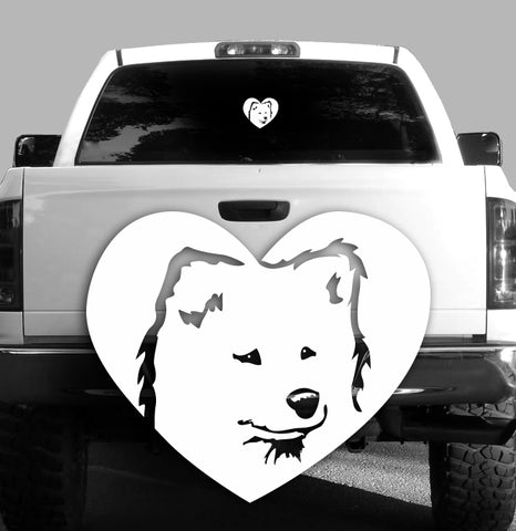Samoyed Heart Vinyl Decal - Dogs - Car, Vehicle, Sticker