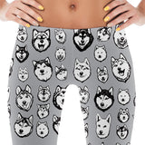 Siberian Husky & Alaskan Malamute Dog Art Illustration Pattern on Leggings - Huskies – Made in America