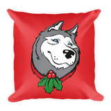 Siberian Husky Christmas, Holiday Large Square Throw Pillow