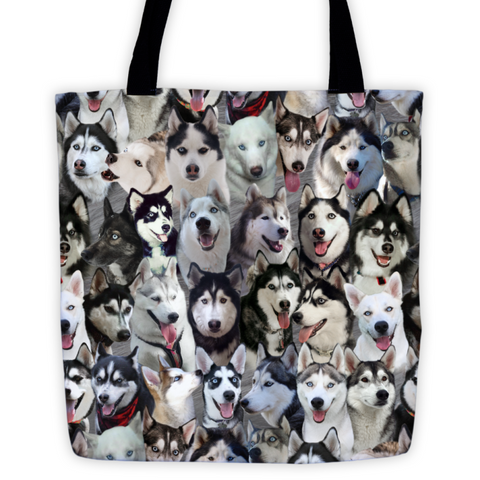 Siberian Husky Photo Pattern on Double-Sided Tote Bag